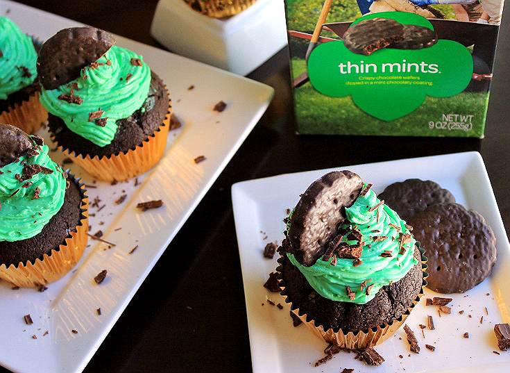 Girl Scouts of America inspired Thin Mint Cupcakes perfect for St Patrick's Day, Potlucks, or plan Indulgence. No Thin Mints were harmed in the making of these cupcakes!