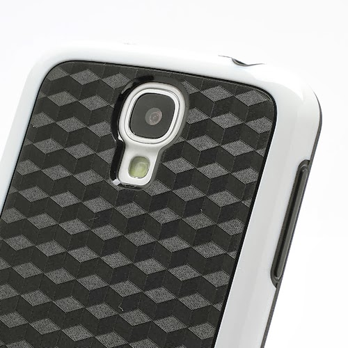 Cool 3D Cube Texture TPU Case for Samsung Galaxy S 4 IV i9500 i9505 - Black / White