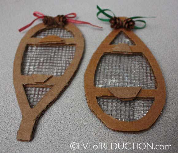 recycled craft how to make a snowshoe holiday ornament eve of reduction. Black Bedroom Furniture Sets. Home Design Ideas