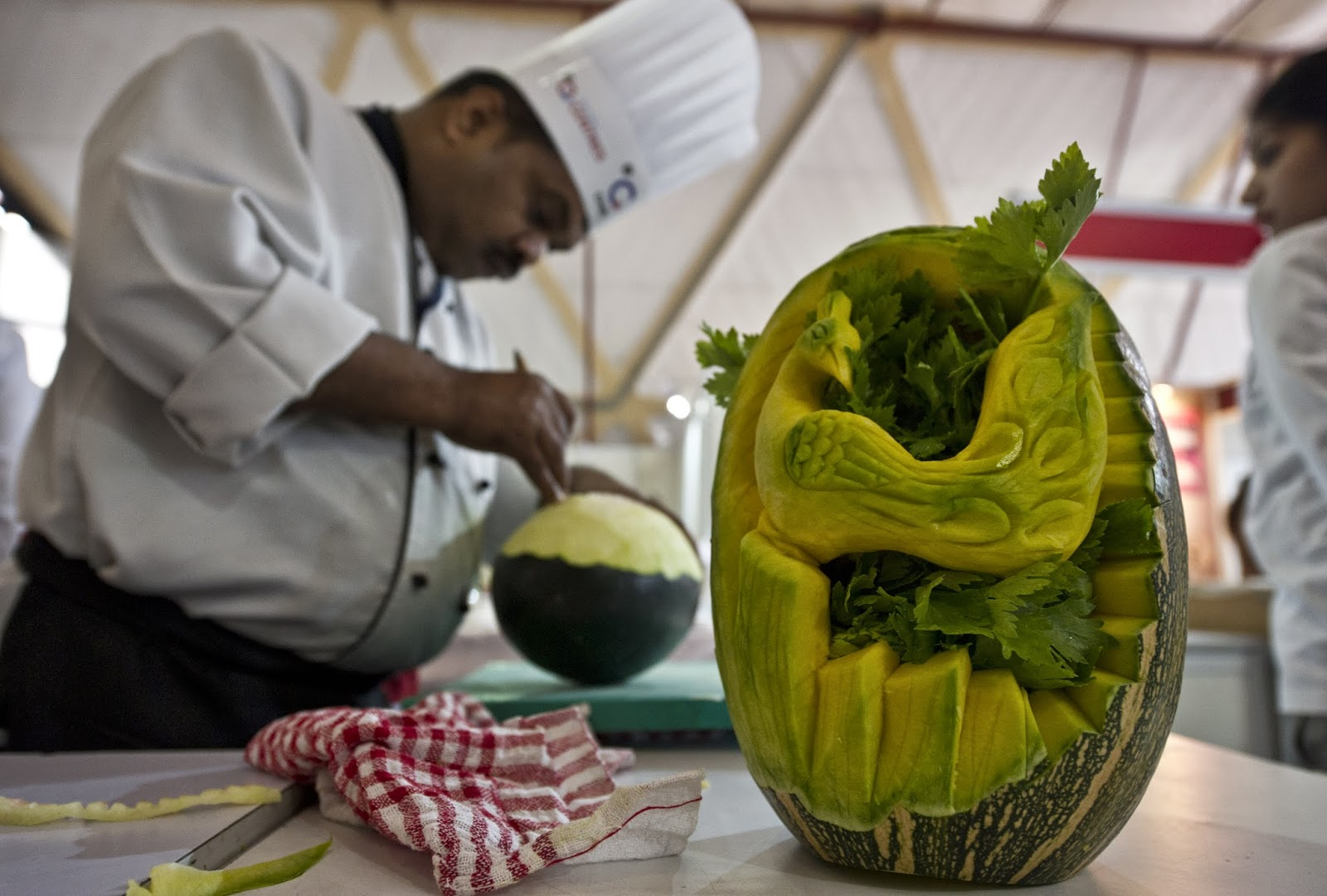 Carving, Chef, Chefs, Competition, Cooking, Creation, Culinary Art India 2014, Exhibition, Fruits, India, New Delhi, News, Offbeat, Pragati Maidan, Vegetables, Watermelon,