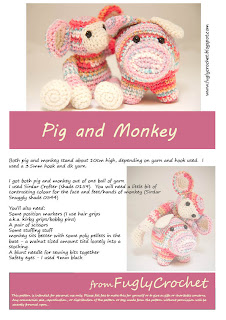 Crochet Pig and Monkey pattern at Ravelry