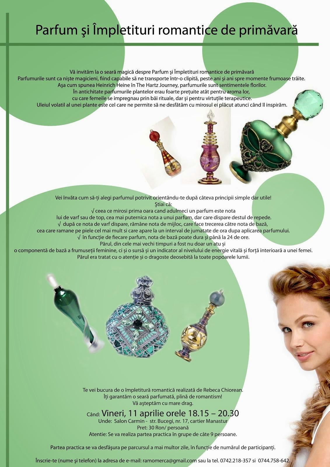 workshop: Parfum şi Împletituri romantice de primăvară, 11 aprilie Cluj-Napoca ora 18.15 - 20.30