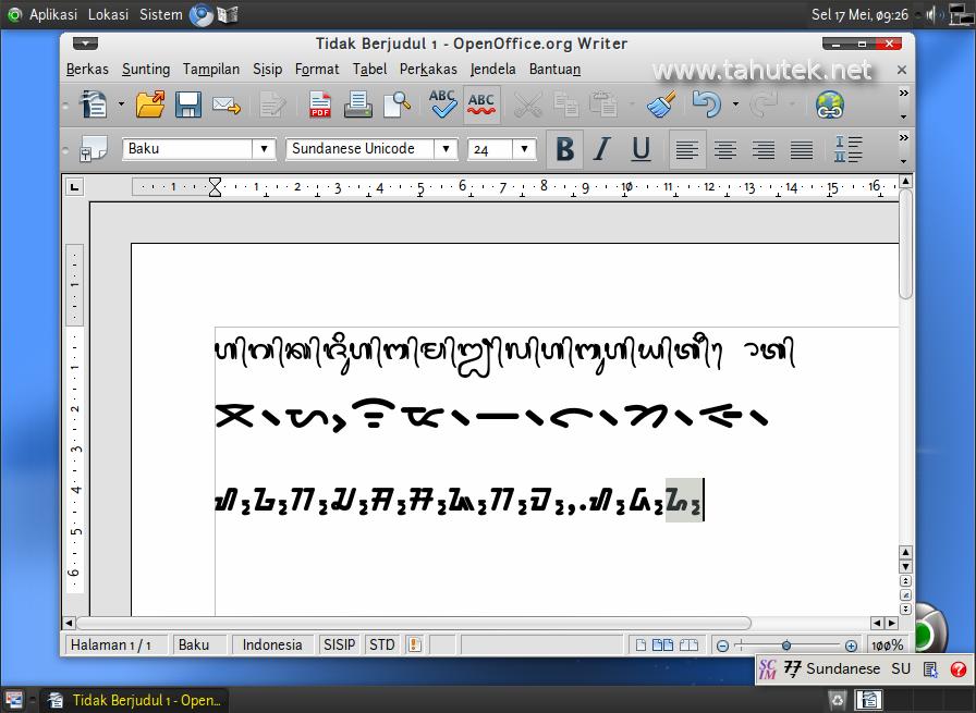 Contoh penggunaan aksara nasional di BlankOn