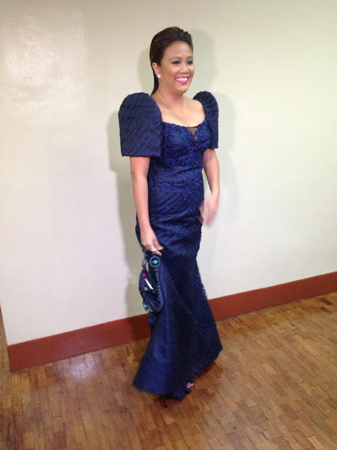 Nancy Binay in a 'boring' blue terno by Randy Ortiz SONA 2015