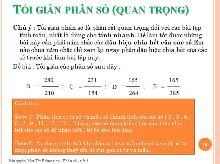 Bài tập phân số toán lớp 5 - rút gọn phân số(16)