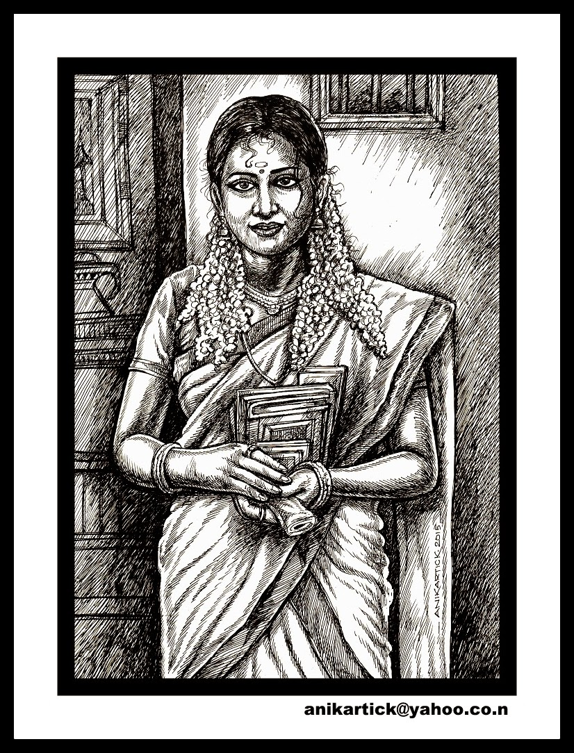 Traditional ladies art drawing sketch sketches illustration black and white drawings pen and ink drawings line drawings oviyam