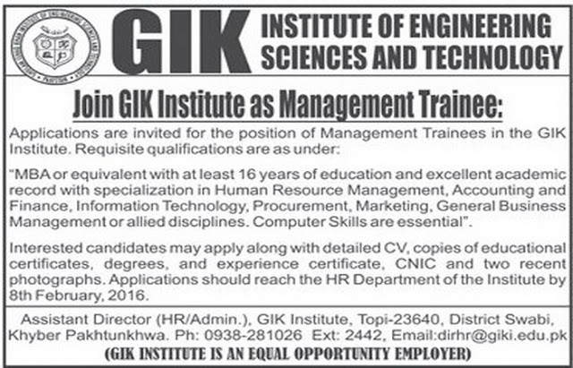 Management Trainee Jobs in GIK Institute of Science & Technology