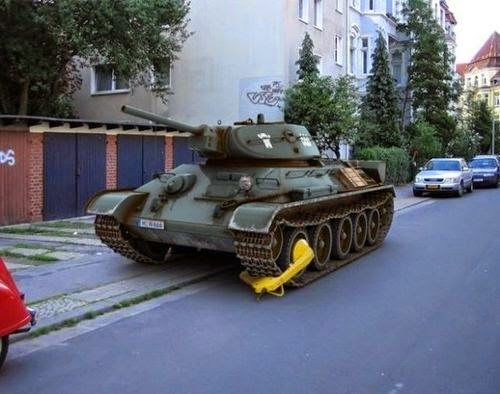 tank with parking clamp