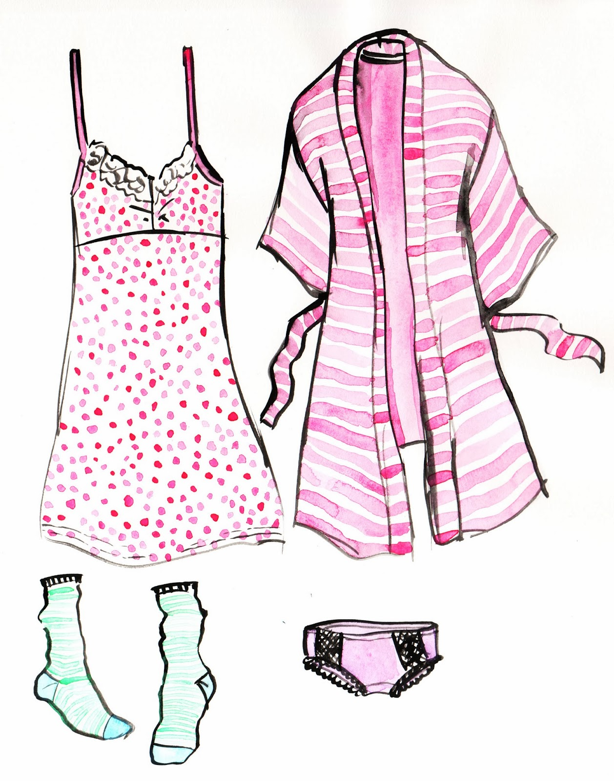 pajama-illustration, watercolor-pajamas, watercolor-fashion-illustration, watercolor-loungewear