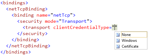 configure transport clientcredentialtype in wcf