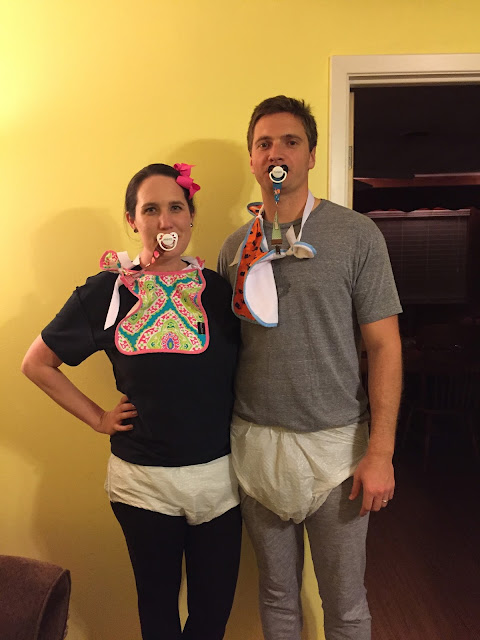 and when cliff and i had a couples halloween party last week there really was no question as to who we would go as adult diapers for the win