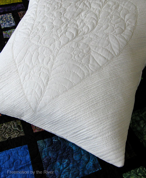 Close up of background quilting on the pillow