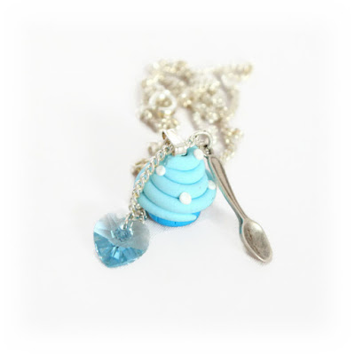 Blue Cupcake Charm Necklace handmade from polymer clay now available at Lottie of London on Etsy