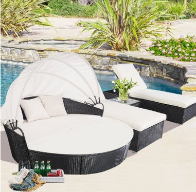 Outdoor Rattan Patio Furniture Round Canopy Daybed + 3 Piece Chaise Lounge,  Gorgeous Round Outdoor
