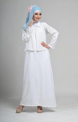 contoh model baju muslim putih