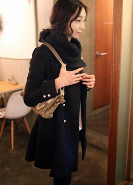 Abrigo de Lana con Cuello Tipo Bufanda