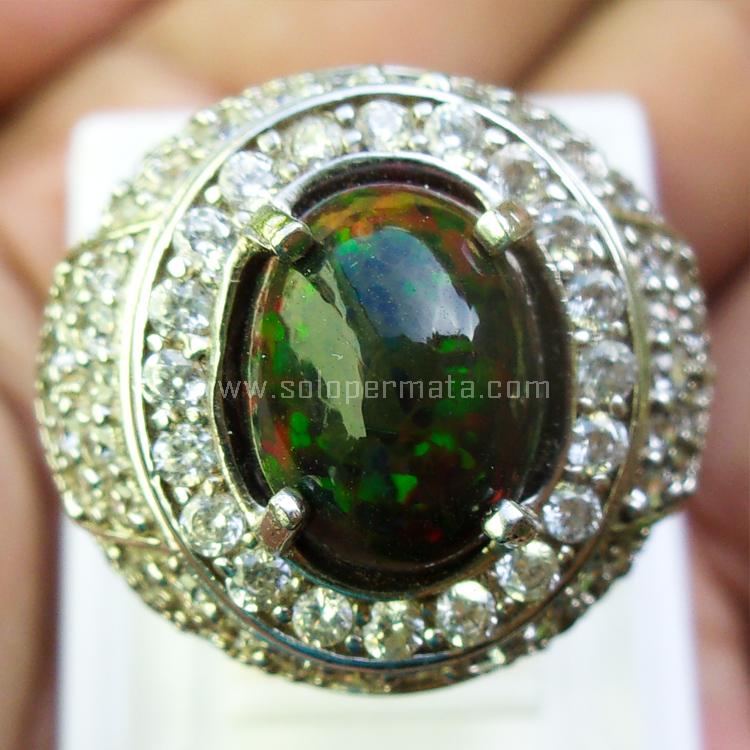 Cincin Batu Permata Black Opal Kalimaya - SP744