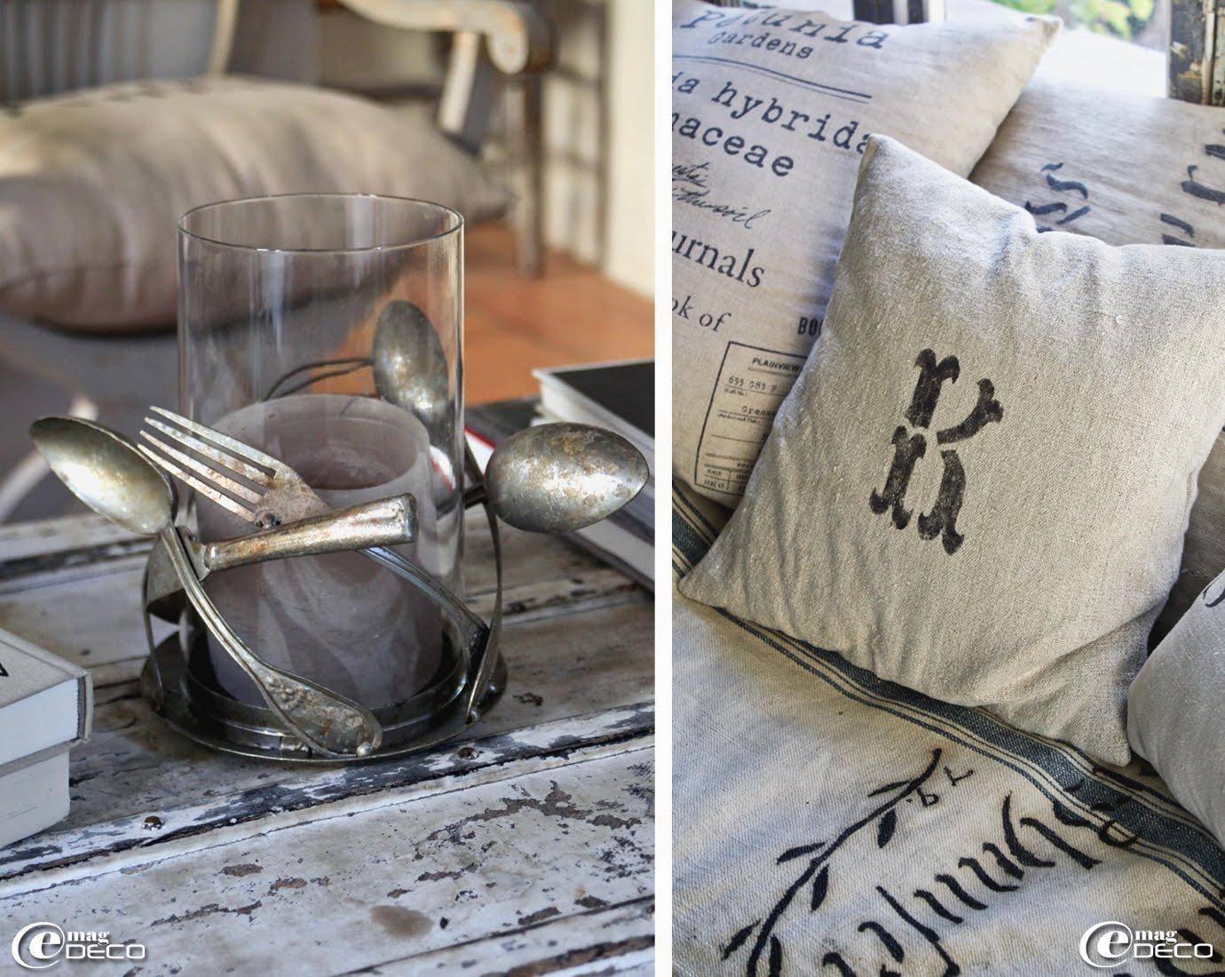 Bougeoir réalisé à partir de vieux couverts en argent et coussins imprimés et estampillés au pochoir