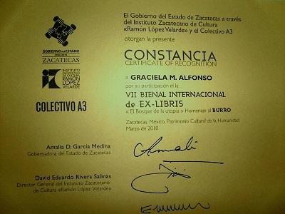 """""""Certificado de participación Bienal Internacional Ex Libris"""""""