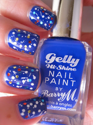 White-glitter-red-blue-gold-BarryM-Gelly-polish