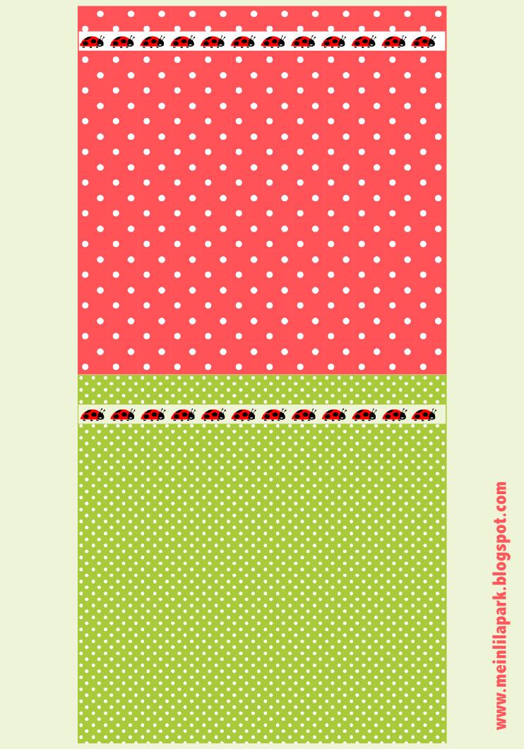 free digital polka dot scrapbooking papers with ladybug border