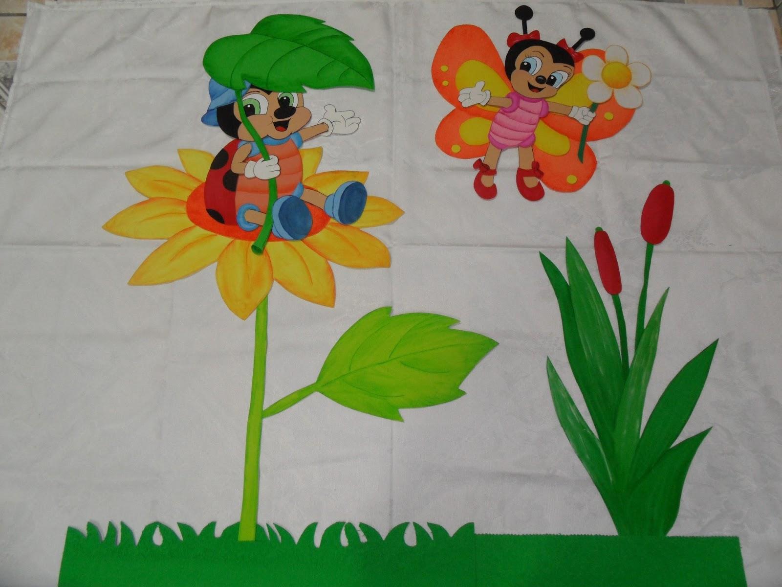 Bete kids painel tema joaninha for Mural de isopor e eva
