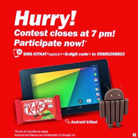 Nestle KITKAT contest, extension of date and the delivery schedule for Google Nexus 7 2013 to the contest Winners