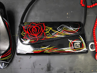 pinstriped retro pin up girl handbag dobell signs by stu dobell