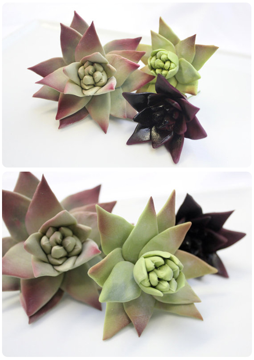 Edible sugar flower succulents cake toppers by Modern Luxe Events