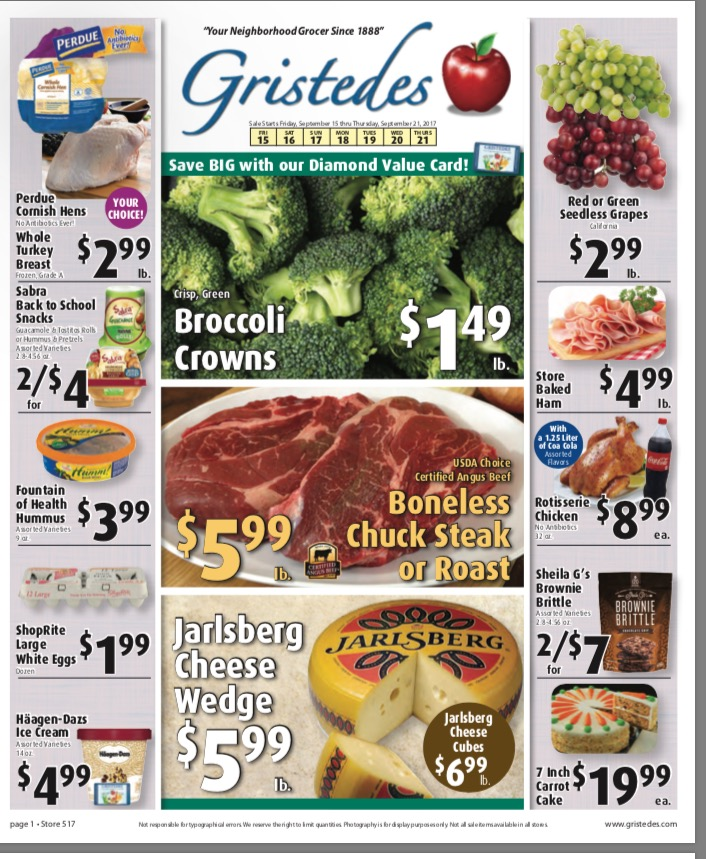 CHECK OUT ROOSEVELT ISLAND GRISTEDES SALES & SPECIALS September 15- September 21