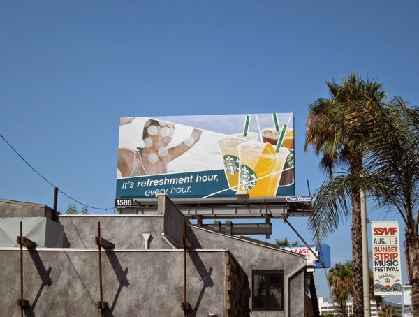 Starbucks refreshment hour billboard