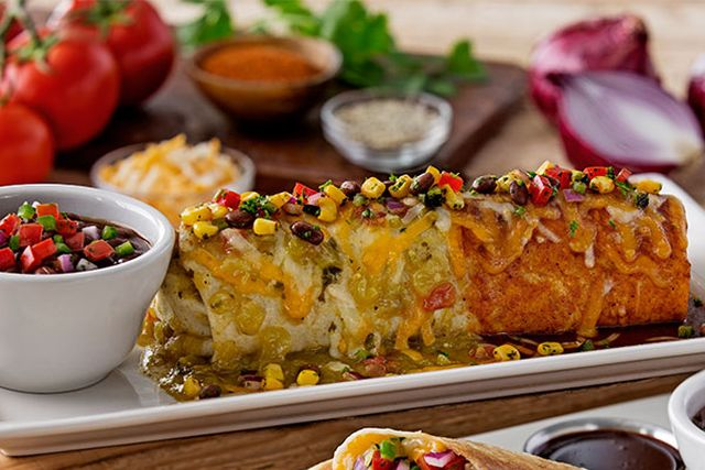 the smothered prime rib burrito includes pieces of prime rib