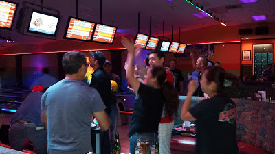 GotPrint staff dancing at the bowling alley
