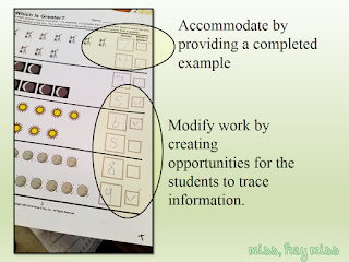 Modify/Accommodate worksheets on Miss, Hey Miss!