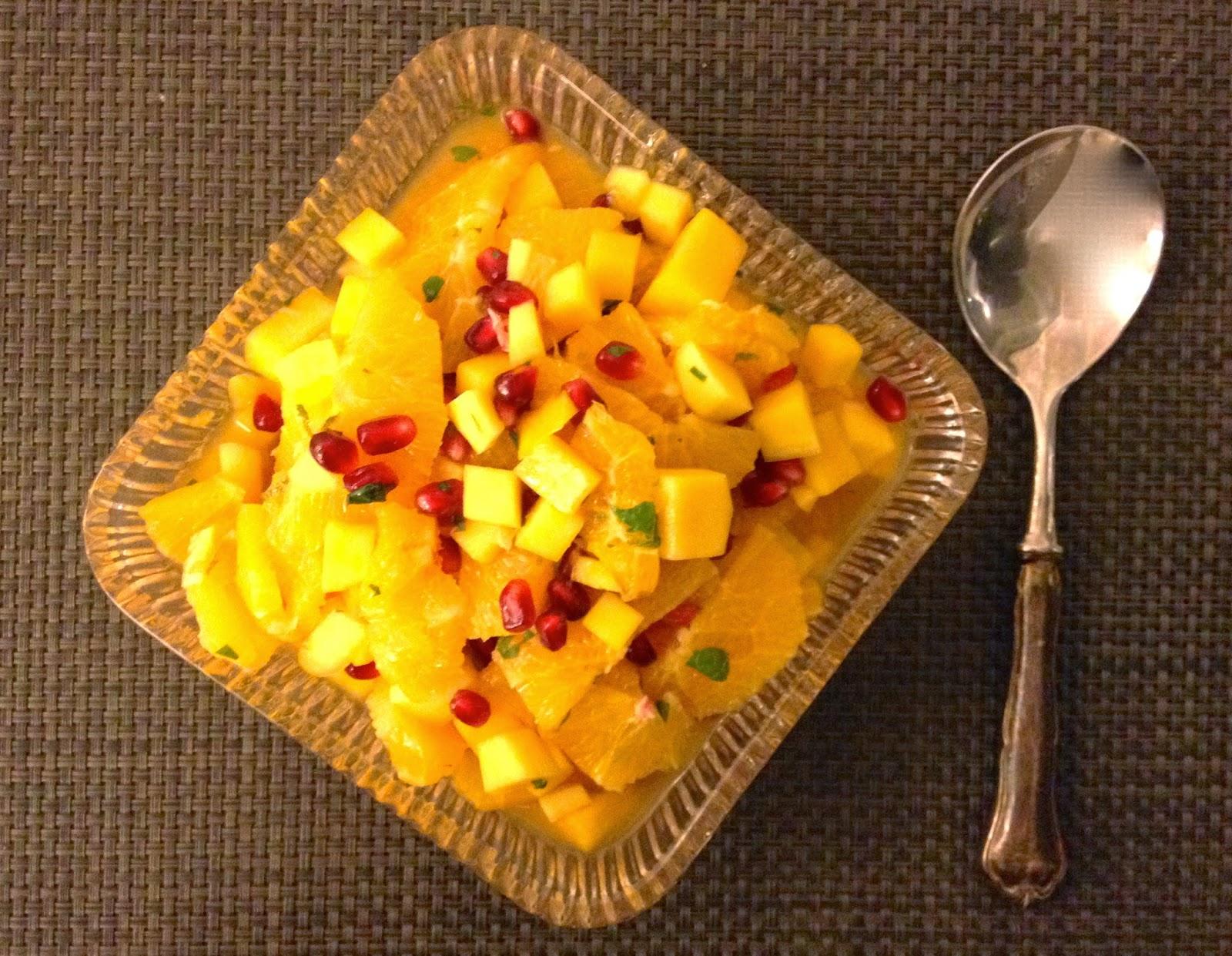 Pomegranate, Mango & Orange Salad with Honey, Mint, Lime Dressing ...