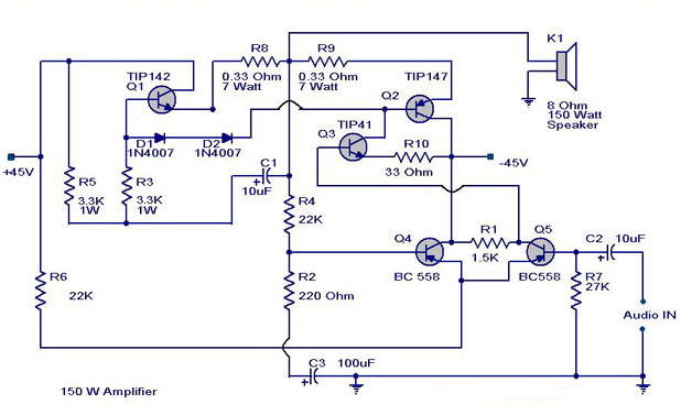 simple 150w amplifier circuit diagram