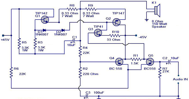 Electronic 150w Amplifier Wiring Diagram Schematic
