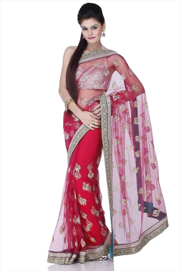 net sarees for girls