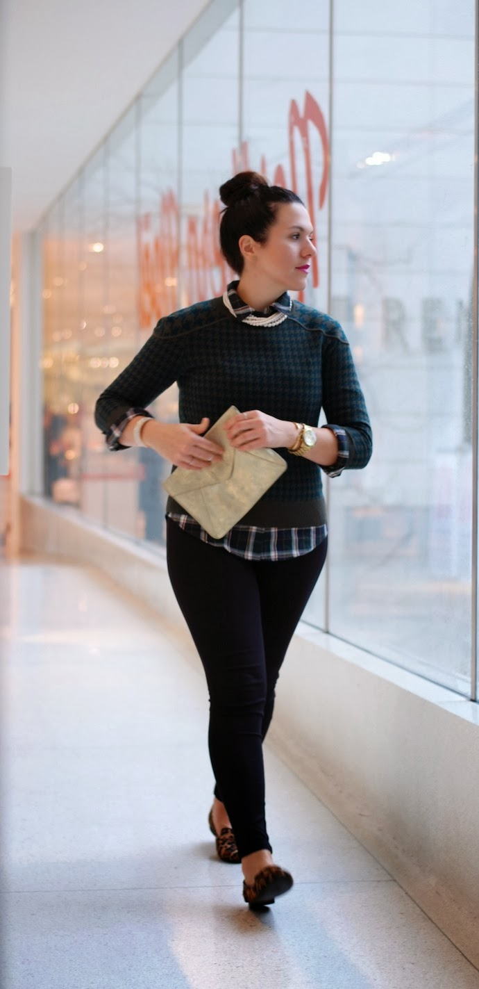 Pattern mixing J.Crew Tippi sweater and Forever 21 flannel