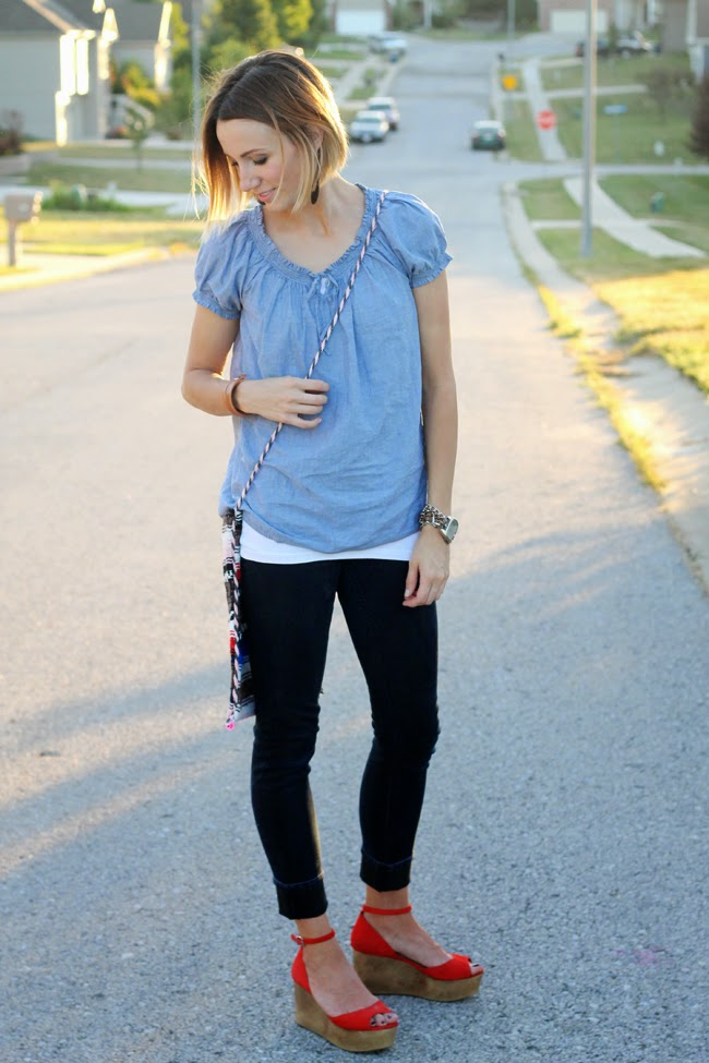 Boho chambray top, black denim, red wedges