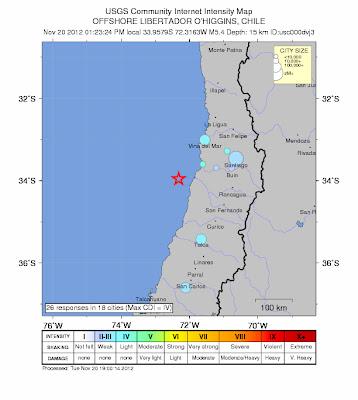 Epicentro sismo en Chile, 20 de Noviembre 2012