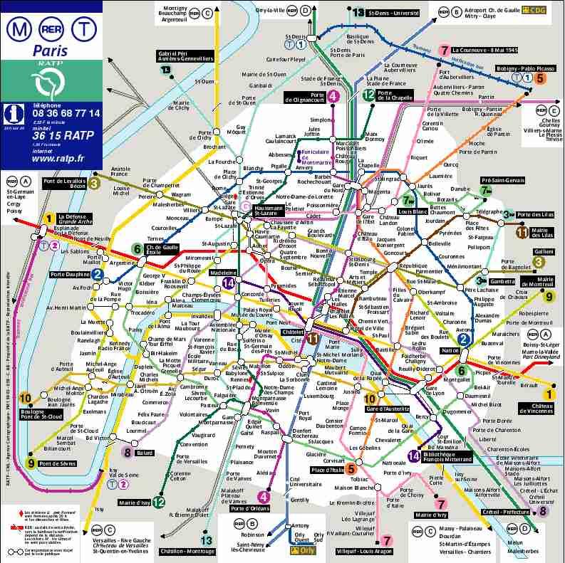 Plan de paris metro