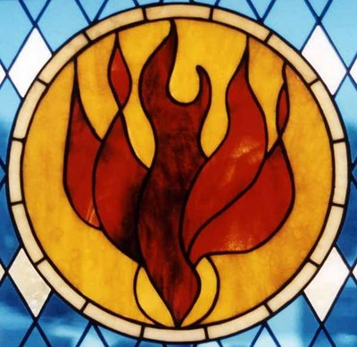 dove fire pentecost glass window