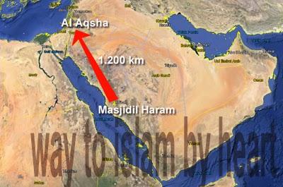peta isra perjalanan muhammad dari mekah ke yerusalem