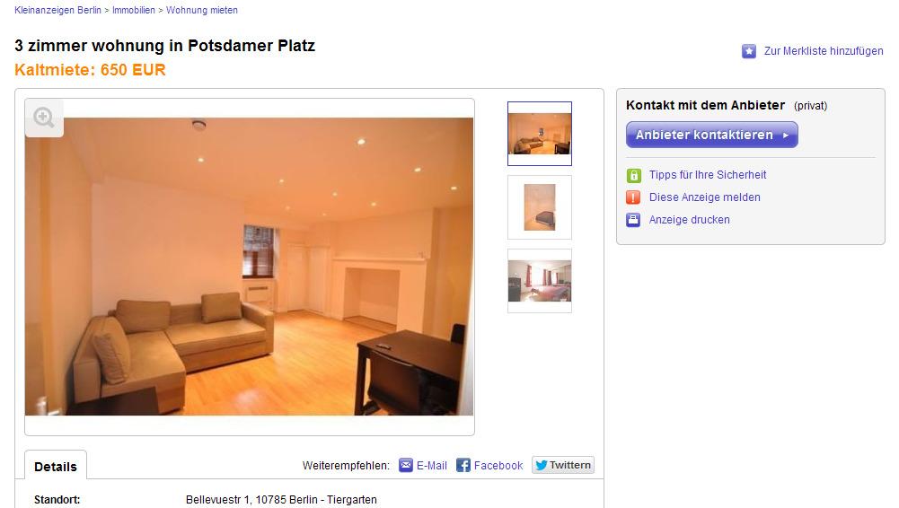 3 zimmer wohnung potsdamer platz bellevuestr 1 10785 berlin. Black Bedroom Furniture Sets. Home Design Ideas