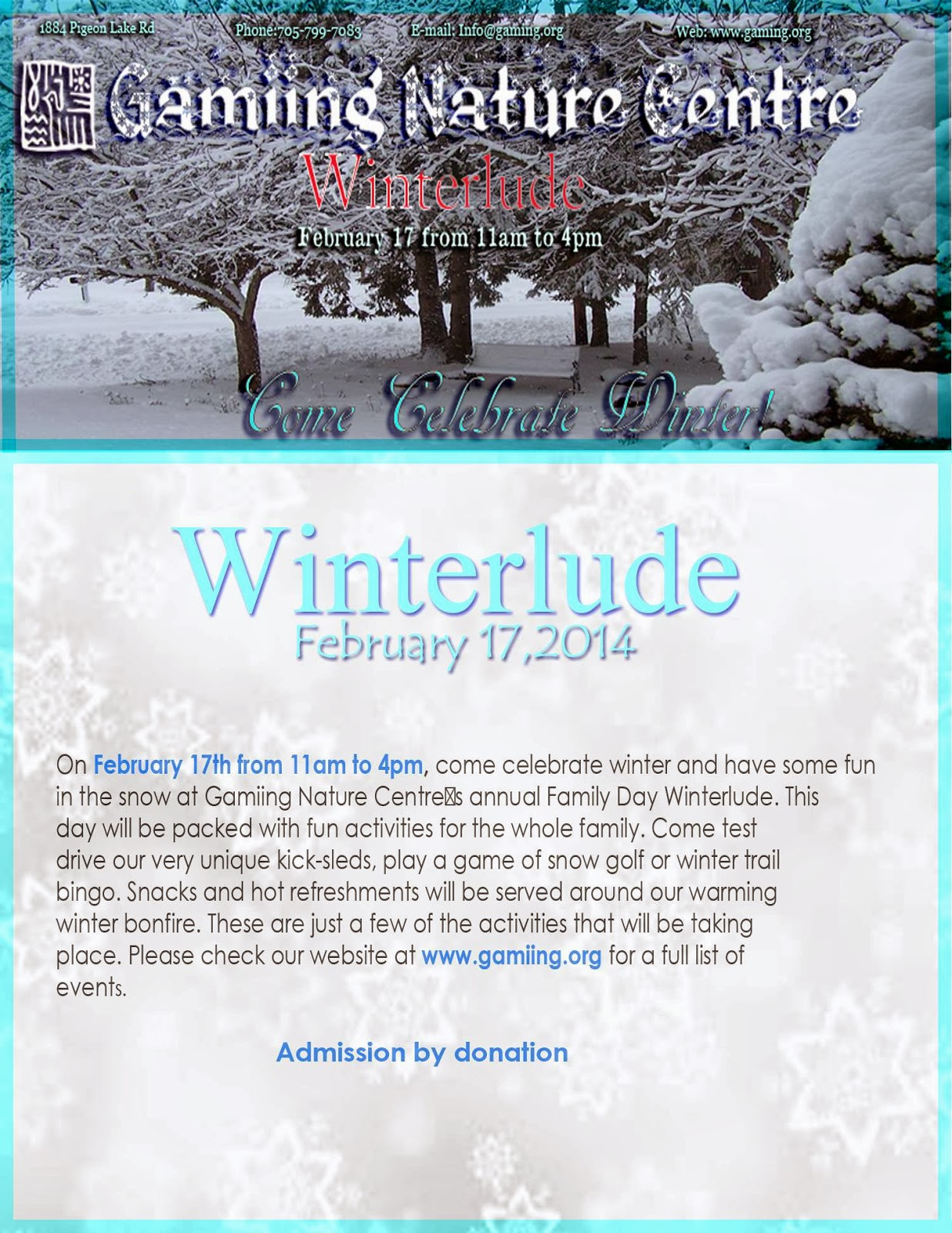 image Gamiing Nature Centre Winterlude poster listing events picture of snow covered trees