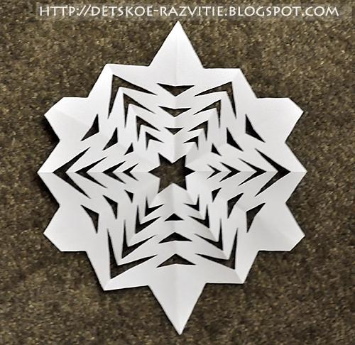 как сделать снежинку из бумаги с 6 лучами