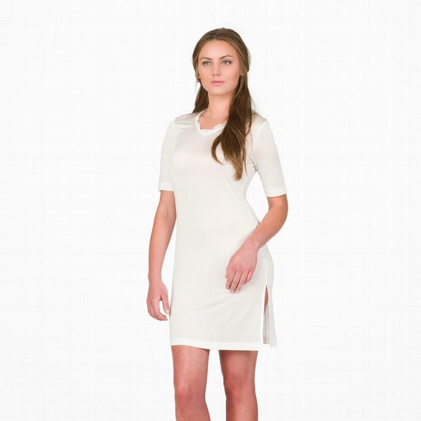 Alkena Bio-Seide Seidennachthemd weiß