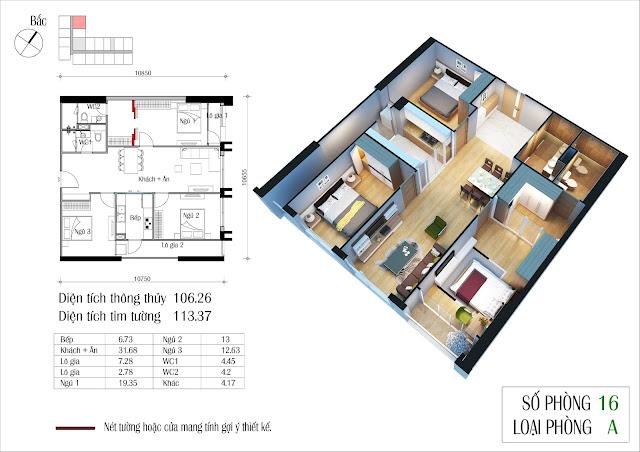 Căn hộ 105 m2 tòa nhà Eco Spring
