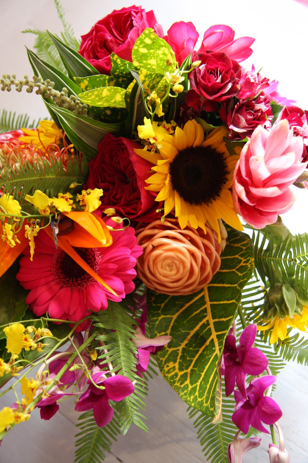 The flower magician sensational tropical wedding bouquet for Picture of a bouquet of flowers